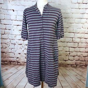 Marimekko Gray Purple Striped Button Front Dress